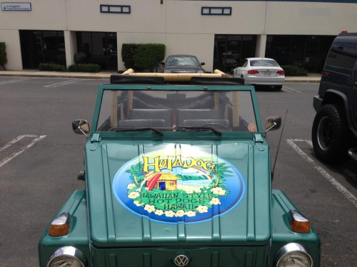 Hula Dog Newport Beach car.